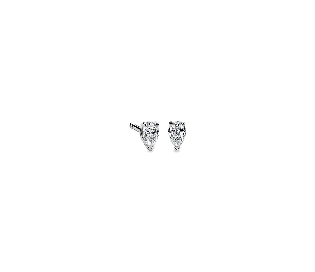 Pear Shape Diamond Stud Earrings in 14K White Gold (1/4 ct. tw.)