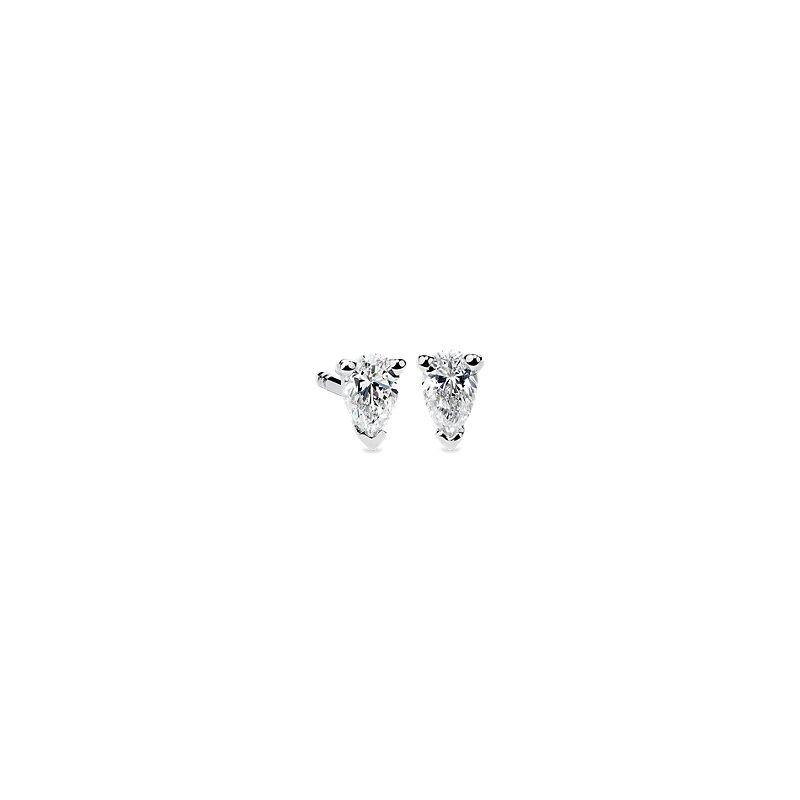 Pear Shape Diamond Stud Earrings in 14K White Gold (1/3 ct. tw.)