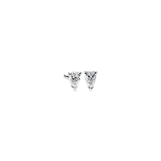 pear shape diamond stud earrings in 14k white gold 13 ct