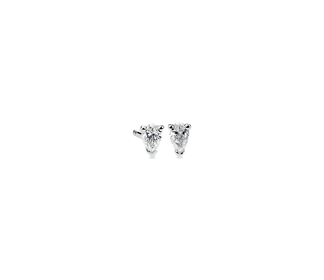 Pear Shape Diamond Stud Earrings in 14K White Gold (1/3 ct. tw.)