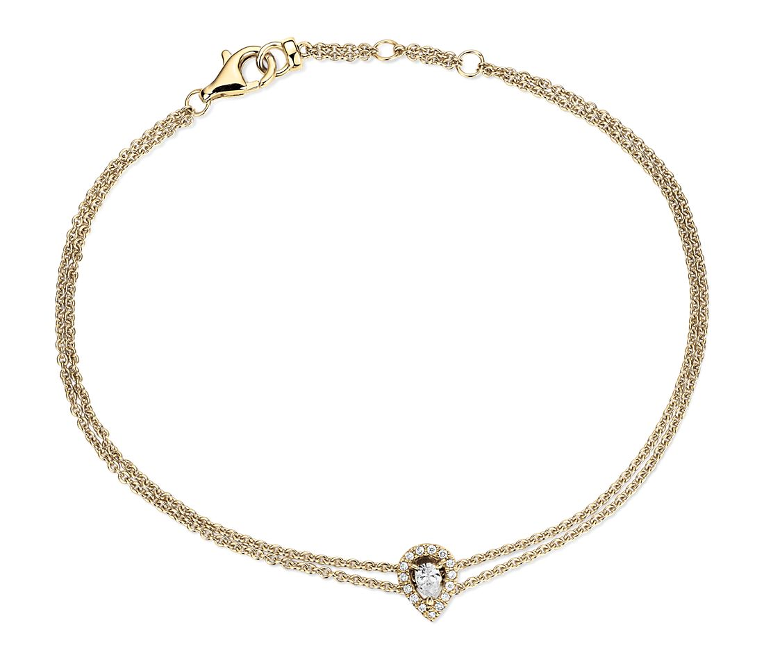 Pear Shape Diamond Halo Bracelet in 14k Yellow Gold (1/8 ct. tw.)