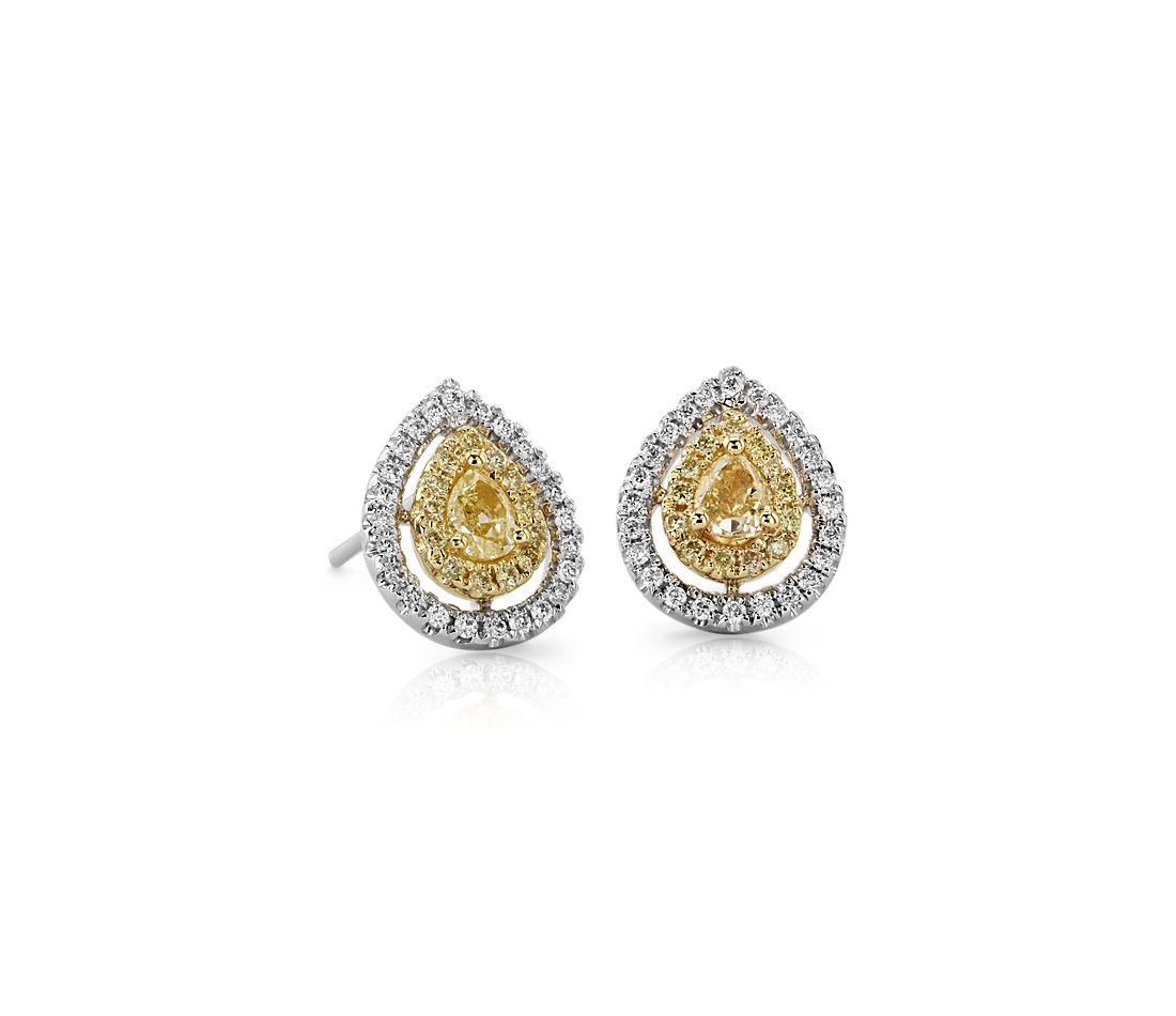 Pear-Shaped Yellow Diamond Double Halo Stud Earrings in 18k White Gold (2/3 ct. tw.)