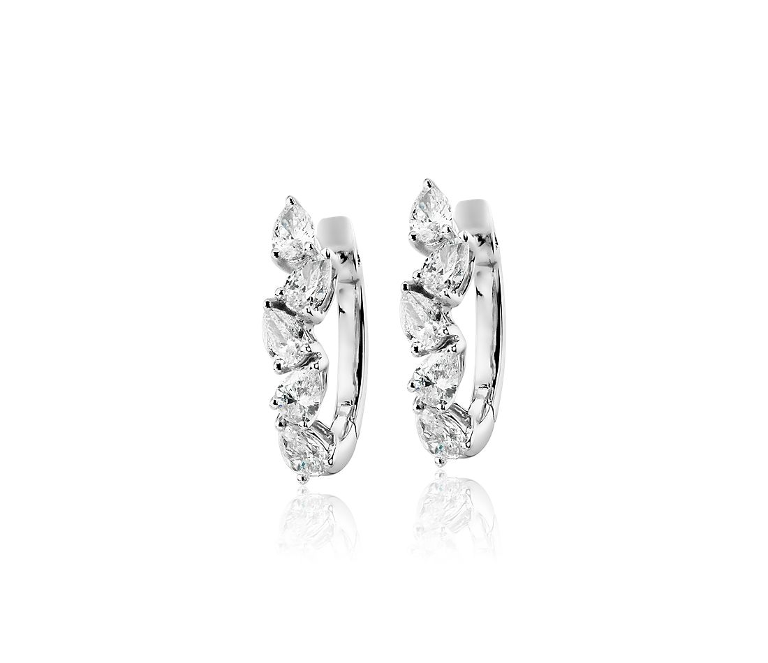 Pear Shape Diamond Hoop Earrings in 14k White Gold (1 ct. tw.)