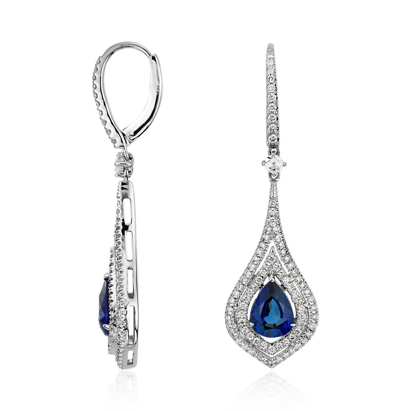 Pear Shape Sapphire Double Halo Diamond Drop Earrings in 18k Whit