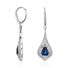 NEW Pear Shape Sapphire Double Halo Diamond Drop Earrings in 18k White Gold (8x6mm)