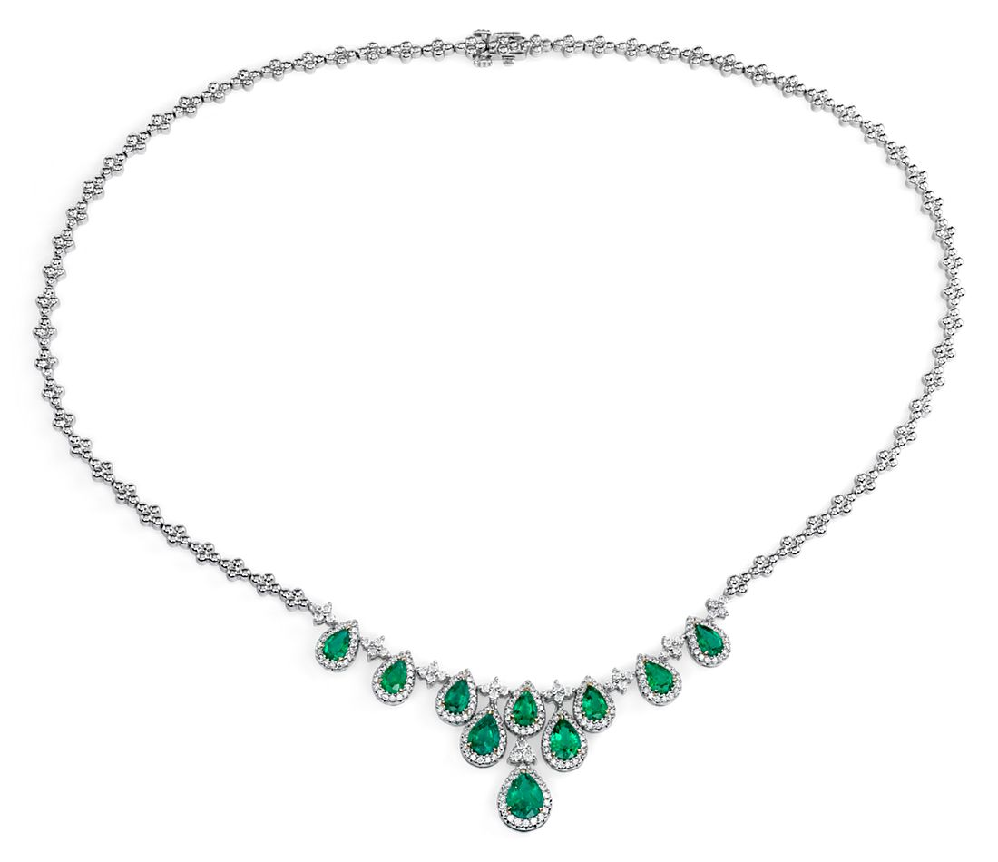 Pear-Shaped Emerald and Diamond Bib Necklace in 18k White Gold
