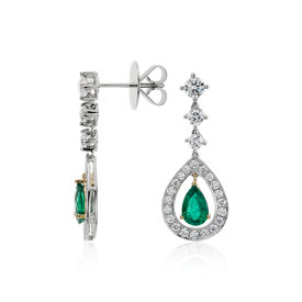 Pear Shape Emerald and Diamond Halo Drop Earrings in 18k White Gold (7x5mm)