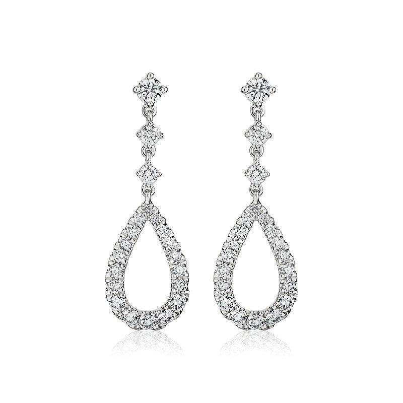 Teardrop Shape Graduated Diamond Drop Earrings in 14k White Gold