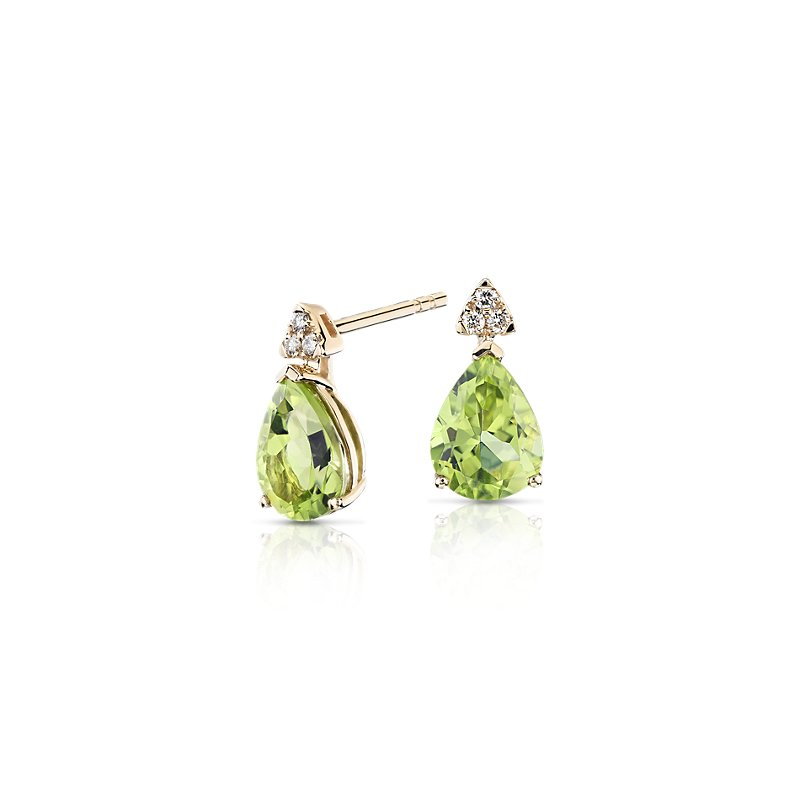 Pear-Shaped Peridot Earrings with Diamond Trio in 14k Yellow Gold
