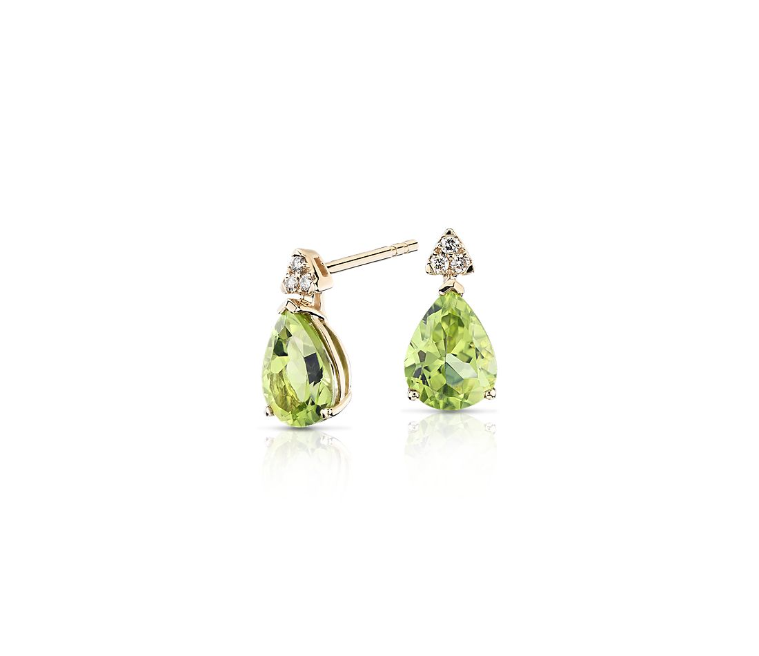 Pear Shaped Peridot Earrings With Diamond Trio In 14k Yellow Gold 8x6mm