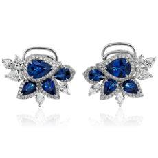 新款 18k 白金梨形蓝宝石和钻石群簇耳环
