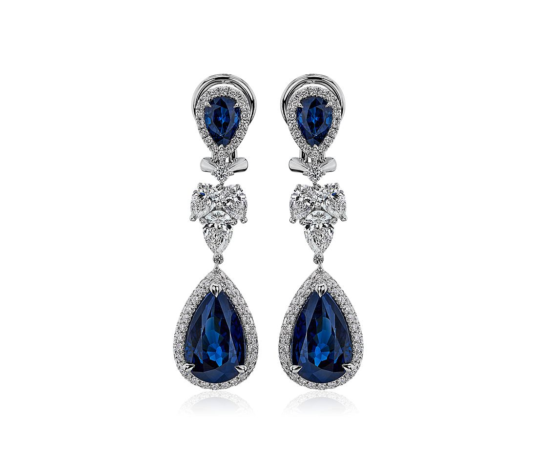 Pear Shape Sapphire and Diamond Pavé Drop Earrings in 18k White Gold