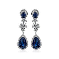 18k 白金梨形藍寶石與鑽石密釘吊墜耳環