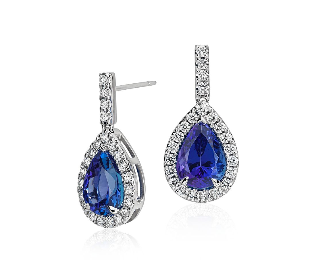 Pear Shape Tanzanite And Diamond Earrings In 18k White Gold (598 Ct)