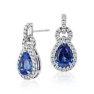 Boucles d'oreilles diamant et tanzanite en forme de poire en or blanc 18carats (centre 6,68 carats, poids total)