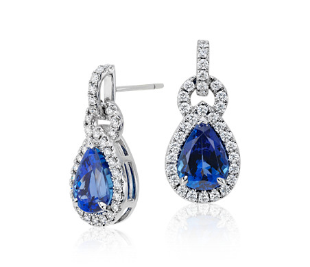 Pear Shape Tanzanite and Diamond Link Drop Earrings in 18k White Gold (4.93 ct. tw. center)