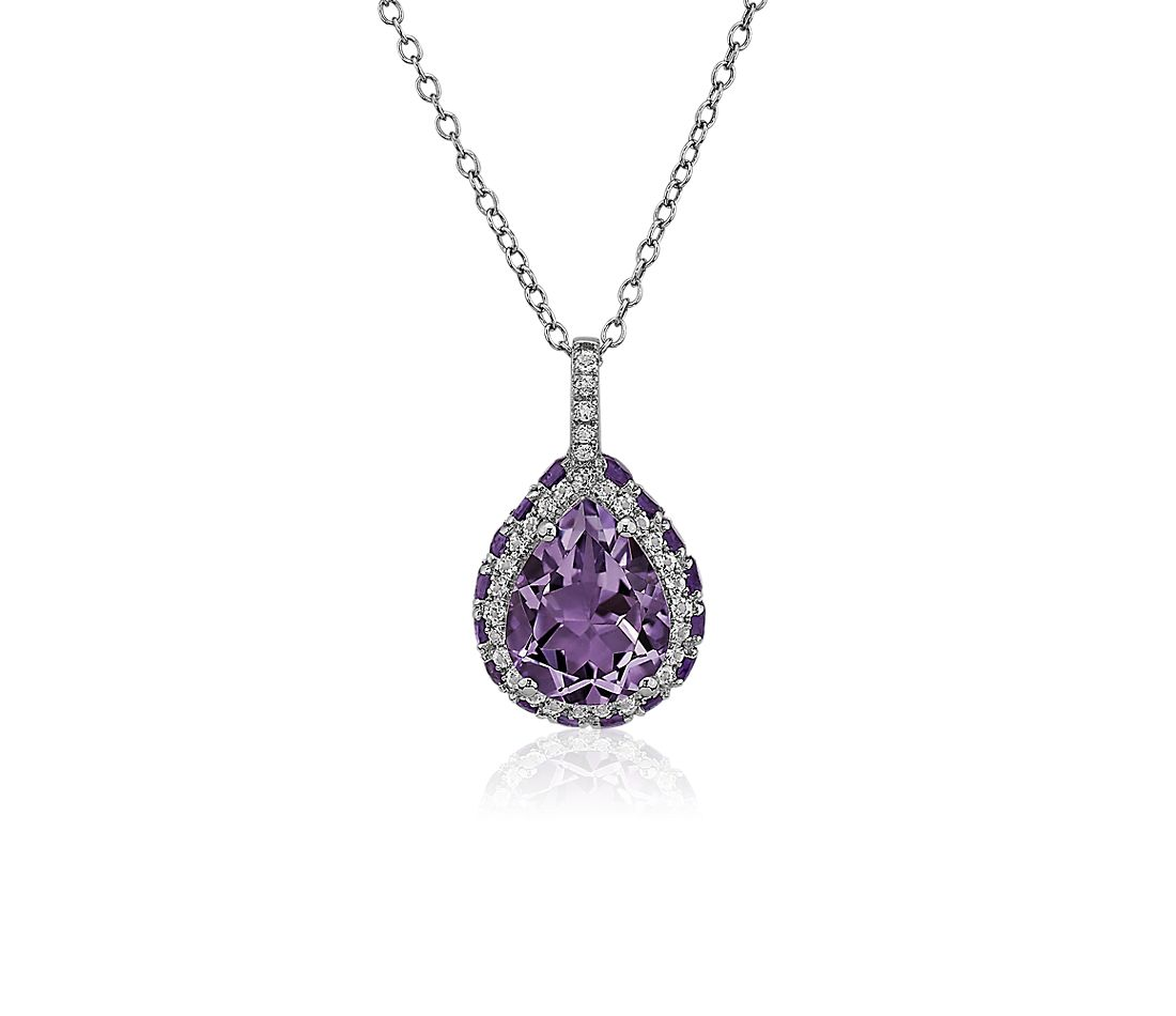 Pear Shaped Amethyst Pendant in Sterling Silver with White Topaz