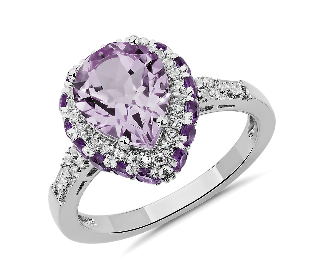 Pear Shaped Amethyst Ring in Sterling Silver with White Topaz