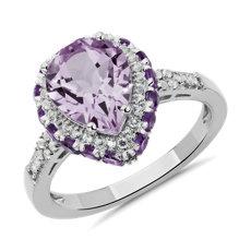 新款 925 純銀梨形紫水晶戒指搭白色托帕石