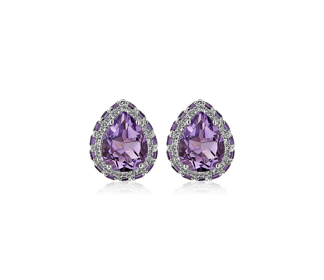 Pear Shaped Amethyst Stud Earrings in Sterling Silver with White Topaz