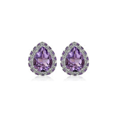 NEW Pear Shaped Amethyst Stud Earrings in Sterling Silver with White Topaz
