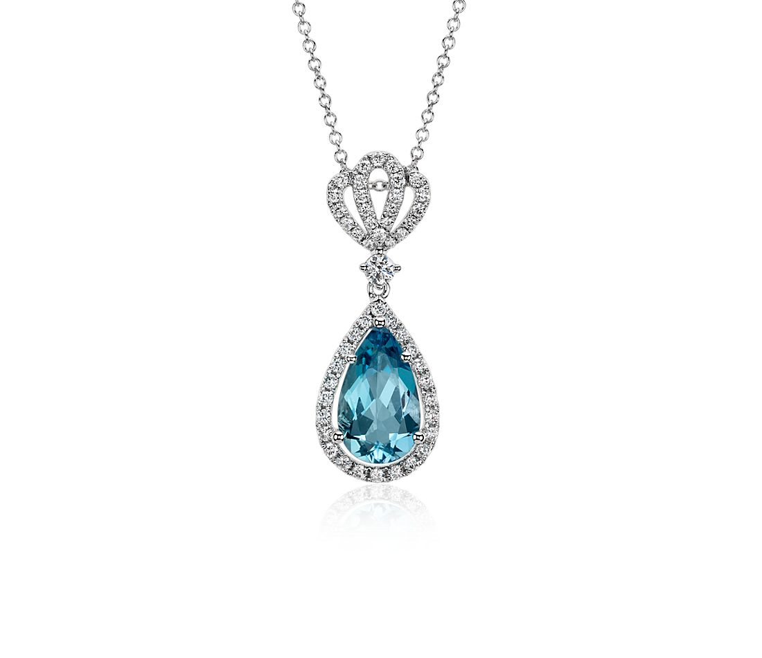 Aquamarine Pavé Crown Diamond Halo Drop Pendant in 18k White Gold (11x8mm)