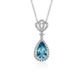 Colgante en forma de gota con halo de diamantes y corona con pavé de aguamarina en oro blanco de 18 k (11 x 8mm)