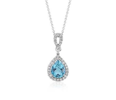 Aquamarine and Diamond Halo Loop Dangle Pendant in 18k White Gold (2.14 cts)