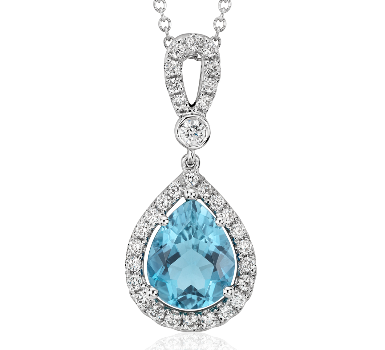 Pendentif cercle halo diamant et aigue-marine en or blanc 18carats (2,14 carats)