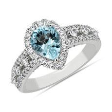 新款 14k 白金梨形海藍寶石時尚戒指 (8x6毫米)
