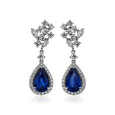 NEW Pear-Shaped Blue Sapphire and Diamond Drop Earrings in 18k White Gold