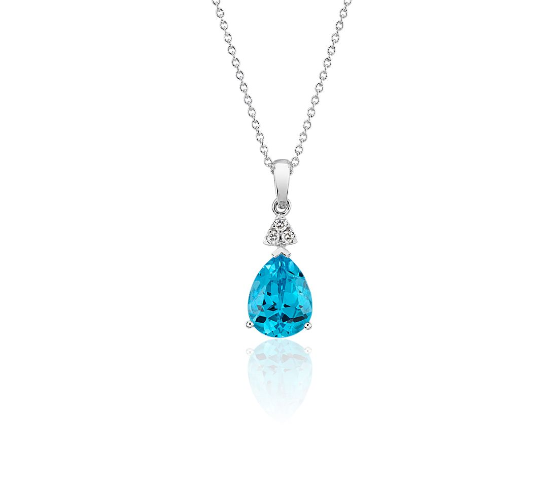 Pear-Shaped Blue Topaz Pendant with Diamond Trio in 14k White Gold (9x7mm)
