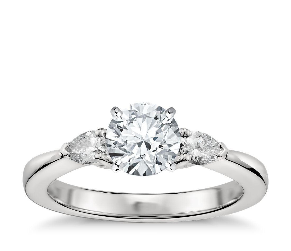 Classic Pear Shaped Diamond Engagement Ring In Platinum (1