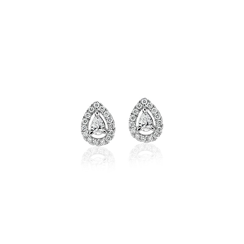 Pear-Shaped Diamond Halo Stud Earrings in 14k White gold (1/4 ct.