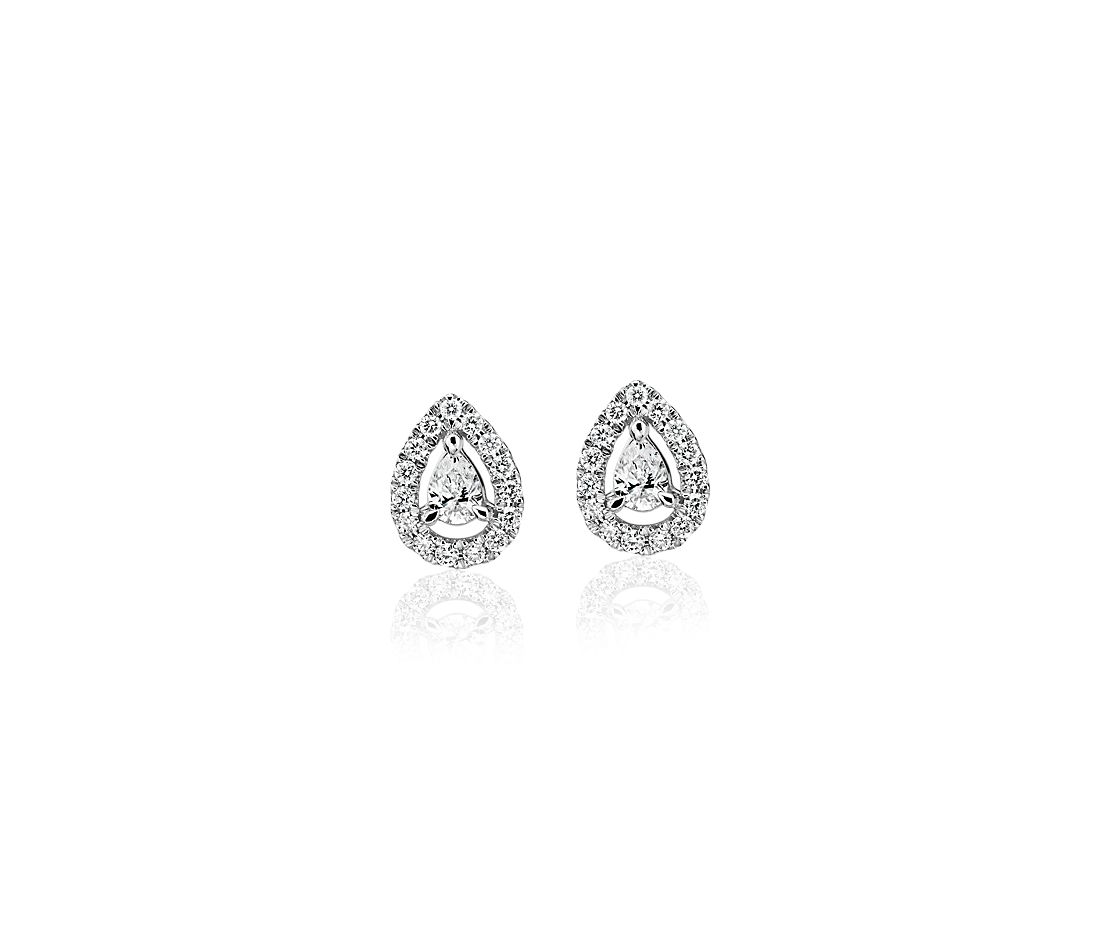 Pear-Shaped Diamond Halo Stud Earrings in 14k White gold (1/4 ct. tw.)