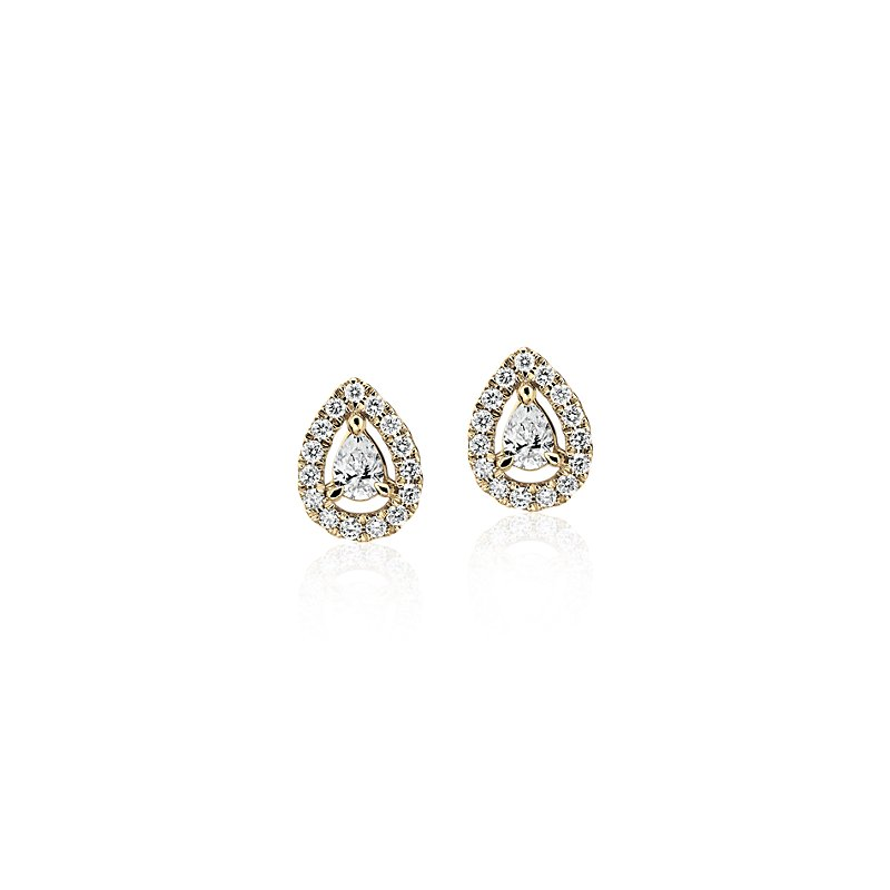 Pear-Shaped Diamond Halo Stud Earrings in 14k Yellow Gold (1/4 ct