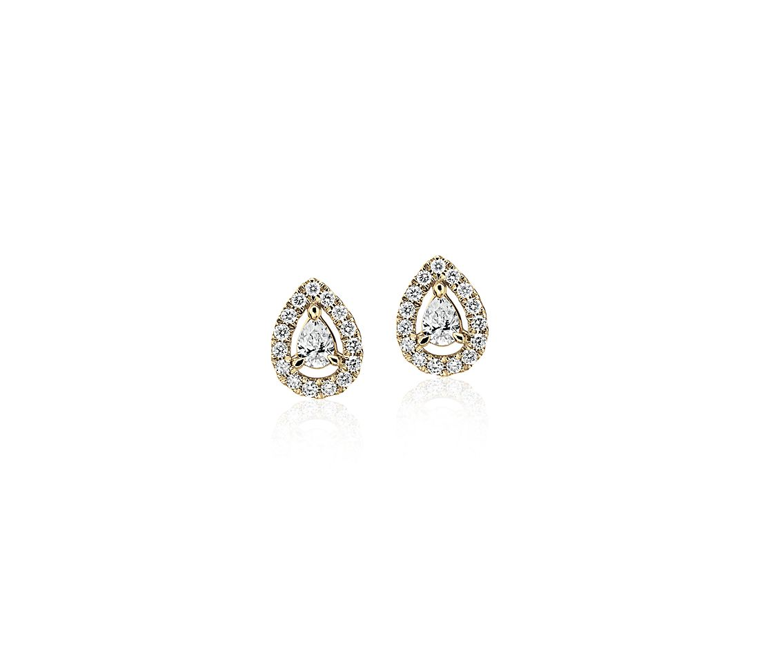 Pear-Shaped Diamond Halo Stud Earrings in 14k Yellow Gold (1/4 ct. tw.)