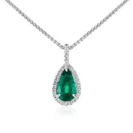 Pear-Shaped Emerald and Pavé Halo Diamond Pendant in 18k White Gold (13.3x7.5mm)