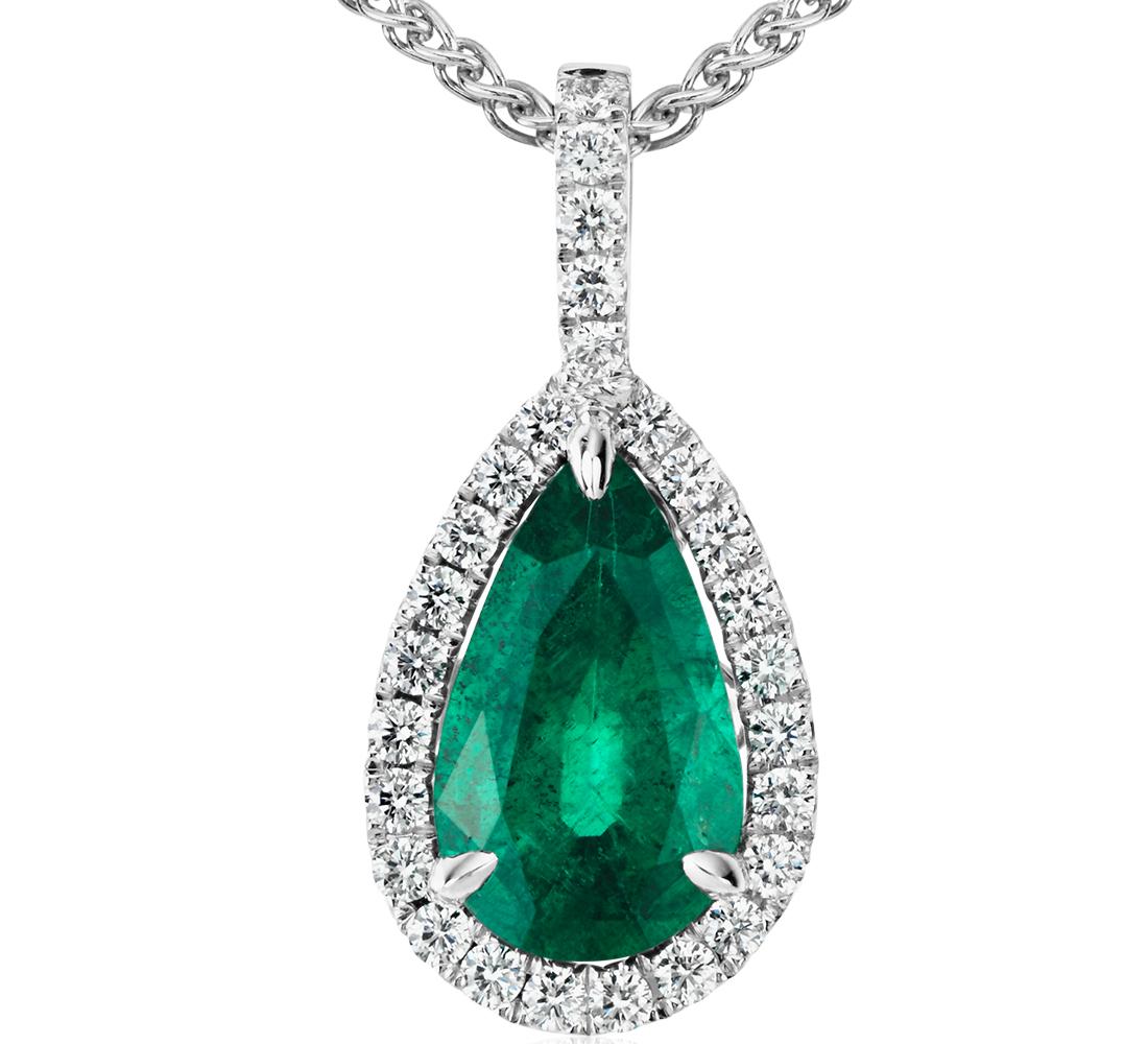 Pendentif halo de diamants sertis pavé et émeraude forme poire en or blanc 18carats (13,3x7,5mm)