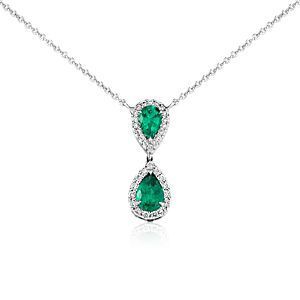 Pear-Shaped Emerald and Diamond Classic Drop Pendant in 18k White Gold (8x6mm)