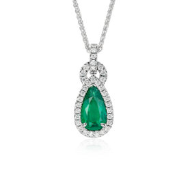 Pear-Shaped Emerald and Pavé Halo Loop Diamond Pendant in 18k White Gold (2.22 ct. center)