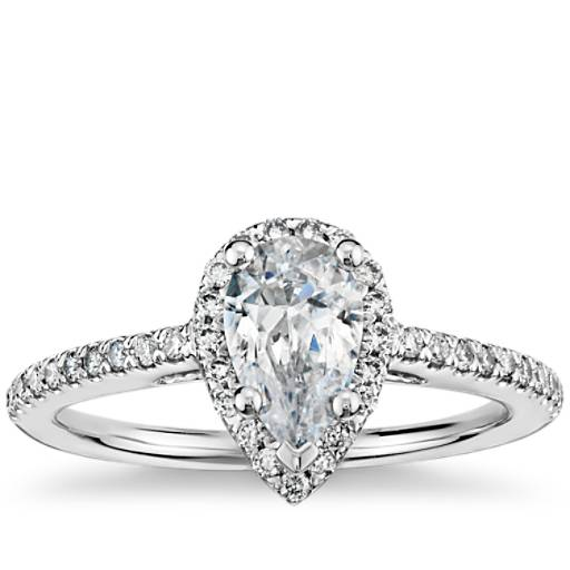Pear Shaped Halo Diamond Engagement Ring in 14K White Gold ...