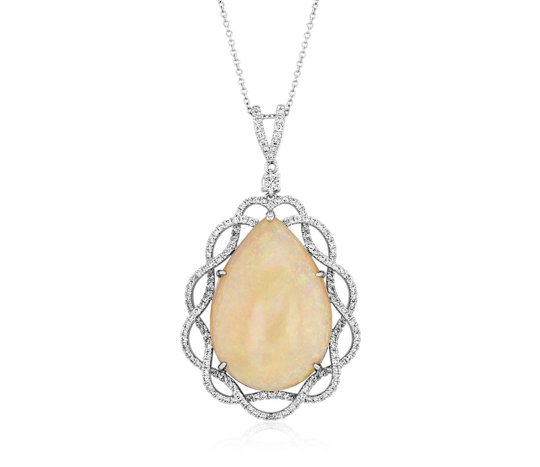 Pear-Shaped Opal and Diamond Pendant in 18k White Gold (14.80 ct. centre)