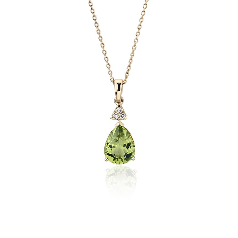 Pear-Shaped Peridot Pendant with Diamond Trio in 14k Yellow Gold