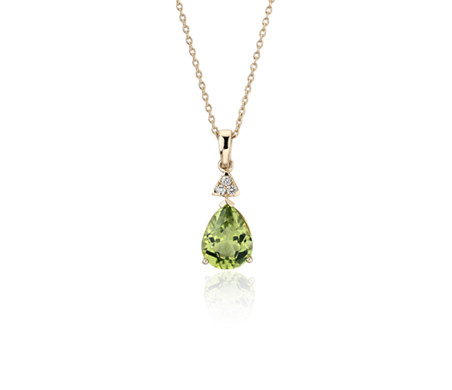 Pear-Shaped Peridot Pendant with Diamond Trio in 14k Yellow Gold (9x7mm)