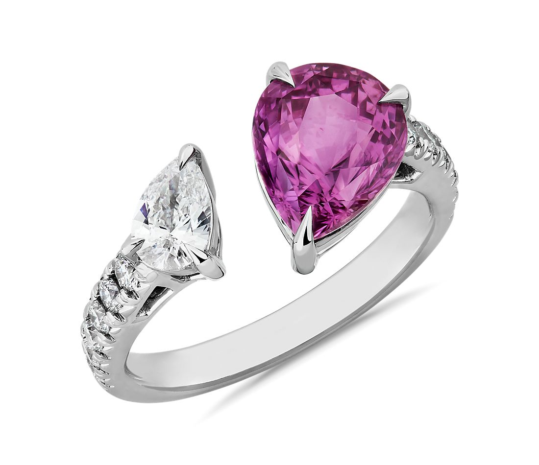 Pear Shaped Pink Sapphire and Diamond Open Fashion Ring in 18k White Gold