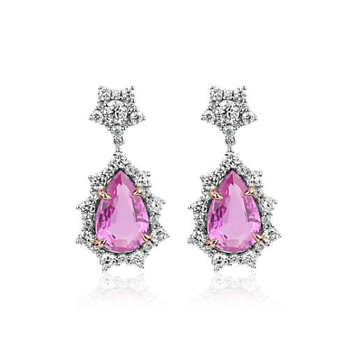Details about  /3CT Cushion Pink Sapphire Dangle Earrings Women Wedding Birthday Jewelry
