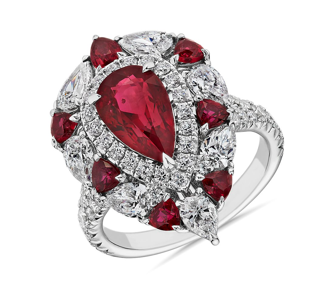 Pear Shaped Ruby and Diamond Ring in 18k White Gold