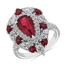 NOUVEAU Bague diamant et rubis forme poire en or blanc 18carats