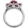 18k 白金梨形紅寶石與鑽石戒指
